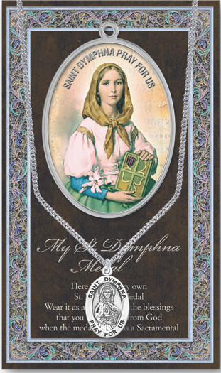 """Patron Saint of Mentally Ill, Family Harmony, Runaways. A 1.125"""" Genuine Pewter Medal with Stainless Steel Chain. Gold Embossed  Prayer Card included with short biography of the saint included. (3.25""""x 5.5"""")"""