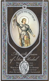 "Patron Saint of Servicewomen, Virgins, Mass and Altar Servers. A 1.125"" Genuine Pewter Medal with Stainless Steel Chain. Gold Embossed Prayer Card included with short biography of the saint included. (3.25""x 5.5"")"