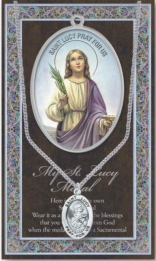 """Patron Saint of the Blind, Eye Diseases and Salespeople. 1.125"""" Genuine Pewter Medal with Stainless Steel Chain. Gold Embossed  Prayer Card included with short biography of the saint included. (3.25""""x 5.5"""")"""
