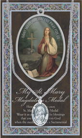 """Patron Saint of Druggists, Pharmacists. 1.125"""" Genuine Pewter Medal with Stainless Steel Chain. Gold Embossed  Prayer Card included with short biography of the saint included. (3.25""""x 5.5"""")"""
