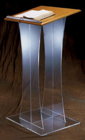 "Dimensions: 43"" height, 20"" width, 18"" depth. Top: 3/4"" for wood ~ 3/8"" for acrylic. Base: 3/8"" acrylic. Pedestal: 3/8"" acrylic"