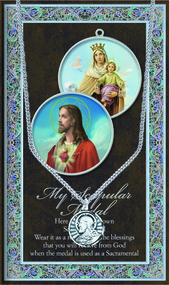 "Scapular 1.125"" Genuine Pewter Medal with Stainless Steel Chain. Silver Embossed Pamphlet with the story of the scapular medal and prayer card."