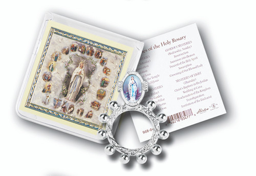 """Rosary Finger Rosary, with Gold Stamped Holy Card. Packaged in a Clear Soft Pouch, 3"""" x 3"""" Made in Italy"""
