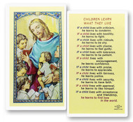 Children Learn What They Live, Laminated Holy Card