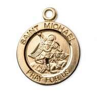 "13/16"" St. Michael Medal with a 18"" Chain.  Medals are all gold over sterling silver with a genuine rhodium-plated, stainless steel chain. Deluxe velour gift box."