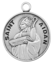 "St. Aiden Round Medal-Patron of Firefighters. Round 7/8"" (dime size) medal with an 20"" chain, boxed.  Made of only the finest materials, our medals are all sterling silver with a genuine rhodium-plated, stainless steel chain in a deluxe velour gift box.  Engraving option available."