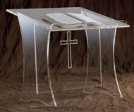"Table Top Lectern with acrylic or wooden top and cross. Dimensions: 20"" height, 20"" width, 18"" depth. Top"" 3/8"" acrylic. Base: 3/8"" acrylic"