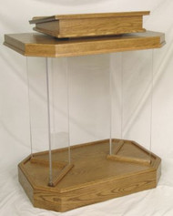 "Pulpit with wood base and top. Dimensions: 46"" height, 36"" width, 24"" depth. 1/2"" acrylic pedestal. Top: 24"" width, 20: depth"