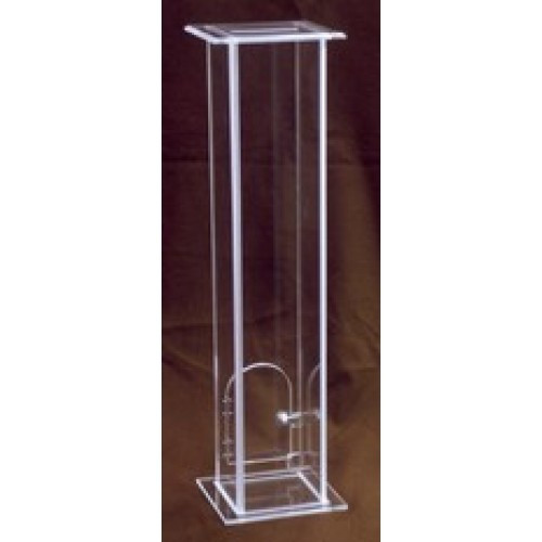 "Collection box with lock. Dimensions: 36"" height, 9 1/2"" width, 9"" depth, 1/2"" thick acrylic"