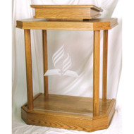 "Acrylic Pulpit with wood base and top. Dimensions: 46"" height, 36"" width, 24"" depth, 1/2"" acrylic sides and front. Top: 24"" width, 20"" depth. Custom Logos are available at an additional cost. Please call 1-800-523-7604 for pricing"