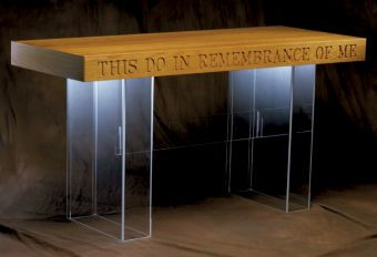 """Communion table with acrylic or wood top, with or without lettering. Dimensions: 31"""" height, 60"""" width, 24"""" depth. 3/8"""" acrylic"""