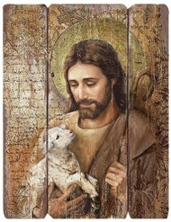 "The Good Shepherd. 26"" medium density fiberboard decorative panel. 26""h X 20.25""w X 1.38D"