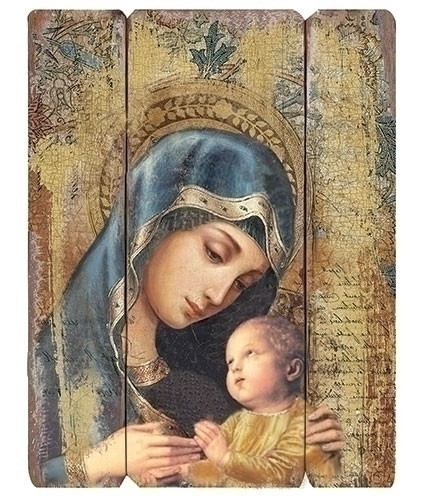 "Decorative Wall Panel of Mary and Child . 26"" medium density fiberboard decorative panel. 26""h X 20.25""w X 1.38D"
