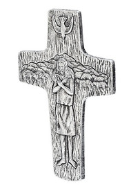 "7.5"" Pectoral Wall Cross (replica of Pope Francis') 7.5""H X 5""W. Resin Stone mix."