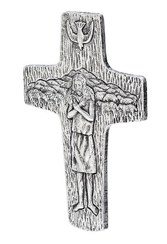 """7.5"""" Pectoral Wall Cross (replica of Pope Francis') 7.5""""H X 5""""W. Resin Stone mix."""