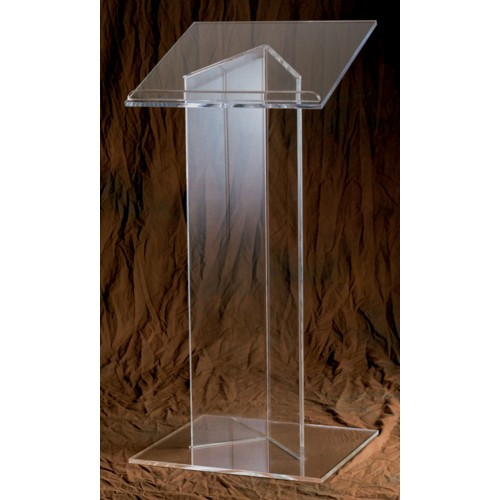 """Lectern with 3/4"""" Wood or 3/8"""" Acrylic top. Dimensions: 43"""" height, 20"""" width, 18"""" depth. Base: 3/8"""" acrylic. Pedestal: 1/2"""" acrylic"""
