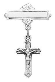 Crucifix Baby Bar Pin, Available in Sterling  Sterling. Rhodium finish. Gift Box included. Engraving Option Available