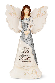 """""""With God All Things are Possible"""" ~ Matthew 19:26. 6.5"""" Angel Holding Cross"""