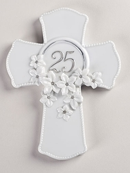 "Love in Bloom 7"" 25th Anniversary Porcelain Wall Cross. 7.125""H x  5.375""W x 0.75""D"
