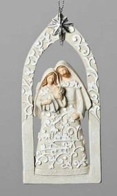 "5.5""H Resin/Dolomite Paper Cut Ornament depicting the Holy Family with Bethlehem Star above. Beautiful edition to your trees decorations or window hanging! Dimensions: 5.31""H x 0.6""W x 2.36""L"