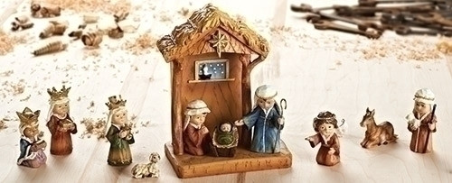 Teach your children about the Christmas story with their very own nativity scene. This nativity set includes 11 figures.  The nativity set figures are made with a resin material.  The set comes with a stable to complete the scene.This nativity set is perfect to add to your Christmas collection. Your young children will love playing with this set and rearranging it every day leading up until Christmas. Having a nativity set that your children can play with is a great way to teach them why we celebrate Christmas. This set includes Mary, Joseph, baby Jesus, the shepherd, the three wise men, the angel, and some animals, as well as a stable.