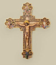 """12"""" Apostles Crucifix. Resin Stone Mix material. Dimensions: 12""""H x 9.75""""W x 1.13""""D. Inspired by 14th Century Florentine design, this striking crucifix portrays Jesus framed in gold scrollwork, surrounded by His Twelve Apostles. The delicate painting and intricate detail make this piece a splendid example of the Renaissance art movement."""
