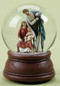 """Musical 5.5"""" Holy Family 100MM Glitterdome. Plays """"Joy to the World""""."""
