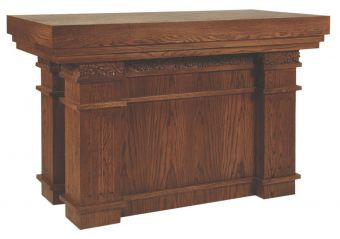 """This handsome Altar comes with a layered top, fluted pedestals, and beautiful Wheat and Grape carving on all sides. Dimensions: 39"""" height, 60"""" width, 30"""" depth"""
