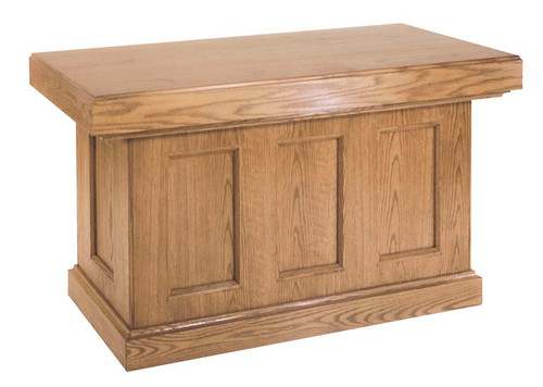 """Altar features superb craftsmanship and traditional design. Altar with elegant recessed panels and enclosed back. Dimensions: 39"""" height, 60"""" width, 30"""" depth or 39"""" height, 72"""" width, 30"""" depth"""