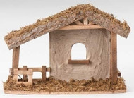 "10.5""H Stucco Stable to house your 5"" Fontanini nativity figures. Dimensions: 10.5""H X 14.5""L X 6.5""W. Made of Wood, Moss and Bark."
