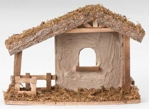 """10.5""""H Stucco Stable to house your 5"""" Fontanini nativity figures. Dimensions: 10.5""""H X 14.5""""L X 6.5""""W. Made of Wood, Moss and Bark."""