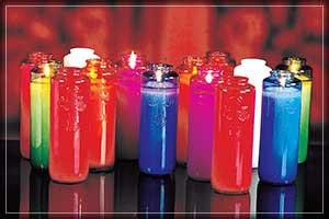 For the cleanest burning, only the finest select fully refined waxes are used in creating these glass bottled candles.  The wicks are specially treated for even cleaner burning. Six (6) Day Candles are available in singles or by the case (1 Dozen). The come in a variety of colors: Crystal, Ruby, Dark Blue, Light Blue, Green, Amber, Purple, Rose, & Opal.