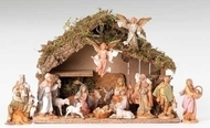 "Fontanini 5"" Scale 16 Piece Nativity Set including Italian Stable.  Dimensions of Stable: 17""W X 12""H X 9""D. Wood, Moss, Bark and Polymer Materials."