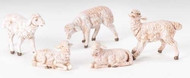 "Fontanini Polymer  5"" Scale Nativity Figures ~ Five Assorted Seated and Standing Sheep, 3""W x 2.5"""