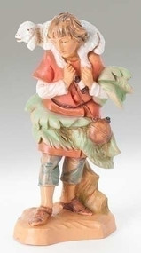 "Gabriel, the Shepherd Boy with Sheep and Lamb. PolymerResin.  5"" Scale"