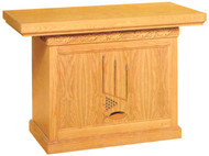 The communion table is crafted using red oak and red oak veneer.