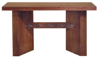 """Sanctuary altar table features clean lines, solid surfaces and just a dash or grapevine trim. The Altar is handmade of the finest Red Oak and Red Oak Veneer. Two sizes to choose from: 40"""" height, 60"""" width, 30"""" depth 40"""" height, 72"""" width, 30"""" depth"""