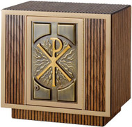 "Tabernacle Style 7126 - All Oak wood construction with metal Chi-Rho door, cabinet lock, combination brass trim, inside satin lining. 18"" High x 12½"" Deep x 19"" Wide. Doors open from left to right."