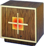 "This tabernacle features all wood construction, a cabinet lock, satin bronze brass trim and a satin cloth lining. The tabernacle is 18"" high, 19"" wide and 12 1/2"" deep."
