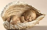 """Sleeping Baby in Wings, """"Heavenly angels sent from above, keep you from harm, wrap you in love"""". Resin/Stone Mix  8.25""""W x  4.25""""H x 4.25""""D"""