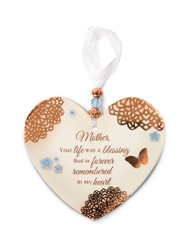 "3.5"" x 4"" Heart-Shaped Ornament. ""Mother, Your Life was a blessing that is forever remembered in my heart"""