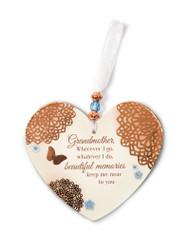 "3.5"" x 4"" Heart-Shaped Ornament. ""Grandmother, Wherever I go, whatever I do, beautiful memories keep me near to you"""