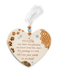 "3.5"" x 4"" Heart-Shaped Ornament. ""Beloved Pet, our time was precious we knew from the start, the journey we took left your paw prints on my heart"""