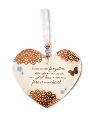 "3.5"" x 4"" Heart-Shaped Ceramic Ornament. ""Gone yet not forgotten, although we are apart, your spirit lives within me, forever in my heart"""