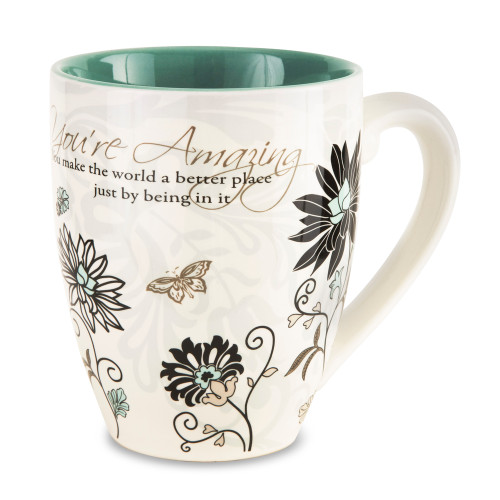 """Large Flower Print Praise Coffee Mug, 20 oz From the Mark My Words Collection comes this 4.75"""" ~ 20 ounce ceramic mug.  """"You're Amazing! You make the world a better place just by being in it."""" written on front of mug."""