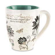 "Large Flower Print Praise Coffee Mug, 20 oz From the Mark My Words Collection comes this 4.75"" ~ 20 ounce ceramic mug.  ""You're Amazing! You make the world a better place just by being in it."" written on front of mug."