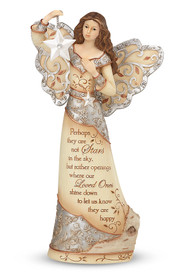 """Stars in the Sky Bereavement Memorial Angel-9"""" Angel Holding Star. """"Perhaps they are not Stars in the sky, but rather openings where our Loved Ones shine down to let us know they are happy."""""""