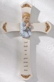 "8.25"" Boy Praying Cross with the words ""God hold me in your arms with love"" . Resin/Stone Mix. Measurements are 8.125"" x 5.25""W x 0.875""D."