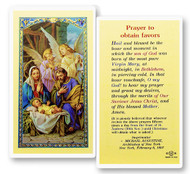 Christmas Novena Prayer to Obtain Favors Laminated Holy Card