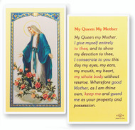 My Queen My Mother, Prayer to Our Lady of Grace Laminated Holy Card